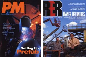 PM magazine, welder and cover of RER magazine